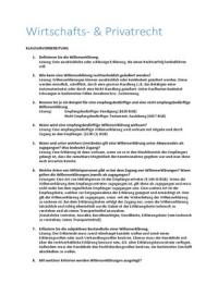 ZUSAMMENFASSUNG: Klausurvorbereitung zu Wirtschafts-und Privatrecht   Wirtschaftsrecht