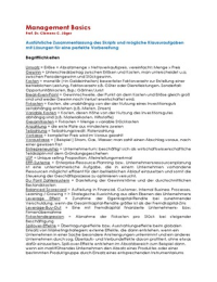 ZUSAMMENFASSUNG: Zusammenfassung Management Basics
