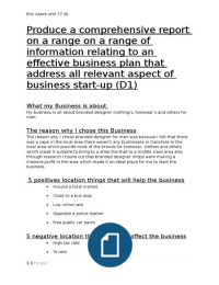 btec business level 3 unit d1 Read this essay on btec business level 3 unit 1 d1 come browse our large digital warehouse of free sample essays get the knowledge you need in order to pass your.