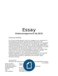 ESSAY: Essay Riskmanagement