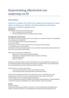 SAMENVATTING: Samenvatting artikelen effectiviteit van onderwijs en levenslang leren