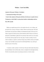 ESSAY: Analytical essay of the poem Medusa by Carol Ann Duffy