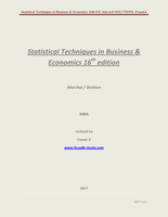 Answers: Statistical techniques in business and economics 16th edition, Marchal / Wathen, PDF SOLUTIONS