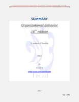 SUMMARY: Organizational behavior 16th edition, S. Robbins, Timothy SUMMARY pdf