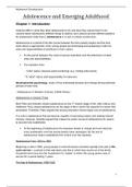 SUMMARY: Summary Adolescence and Emerging Adulthood ch. 1, 2, 3, 4 & 7