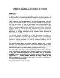 CASO: Ejercicios RESUELTOS de PRECIOS - Dirección Comercial - Marketing